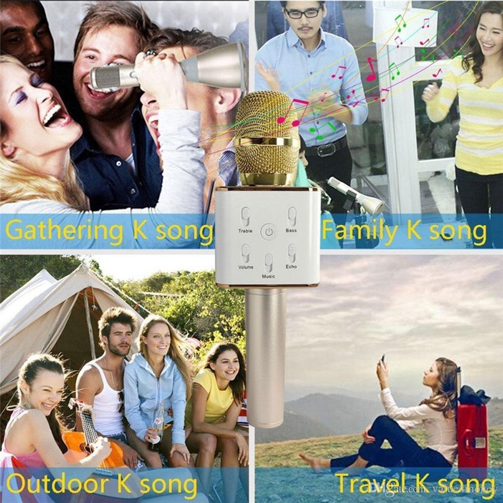 Q7 Micrófono inalámbrico Reproductor de karaoke KTV Cantar grabar altavoz Bluetooth Soporte USB Stick para iPhone Android Huawei Xiaomi Smartphone