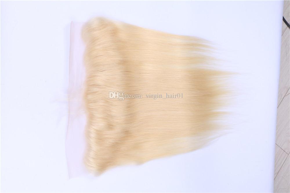 # 613 شقراء الرباط أمامي مع حزم البلاتين شقراء لون نقي الحرير مستقيم الشعر نسج مع الأذن إلى الأذن الرباط أمامي 13 * 4 الرباط أمامي