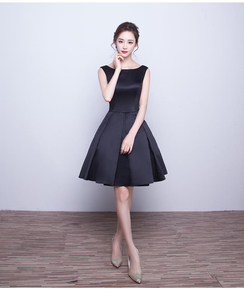 New 2018 Design Short Formal Female Black Summer Prom Dress Prom