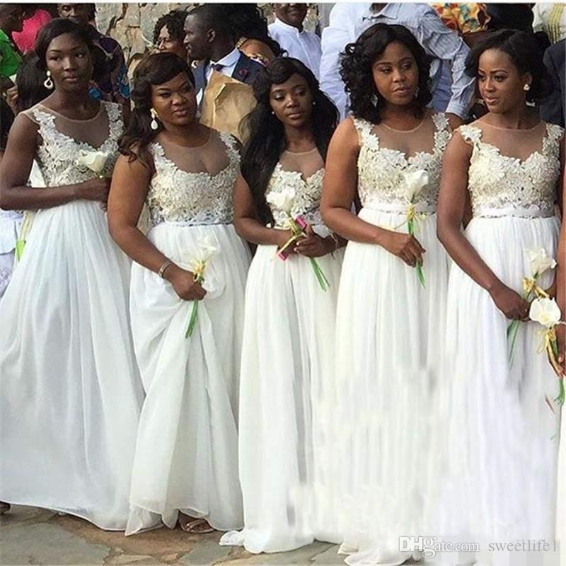 2017 Cheap South African Black Girls White Bridesmaid