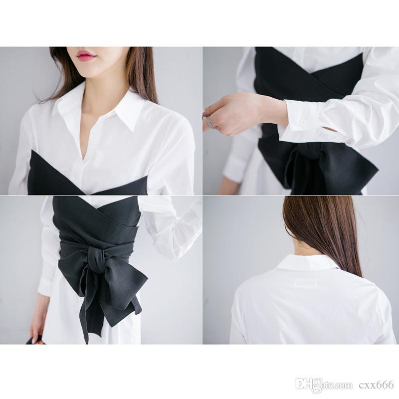2017 Printemps Nouveau Cravate Chemise Chemisier Arc Faux Deux Pièces Chemise Chemisier De Mode Blouse Tops Chemises