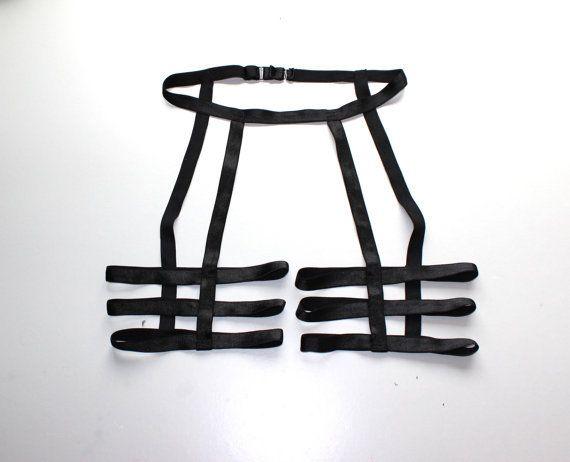 2016 nuovo goth personalizzato nero unisex coscia tre cinghie gamba giarrettiera gabbia sexy lingerie gamba busto bondage vendita al dettaglio