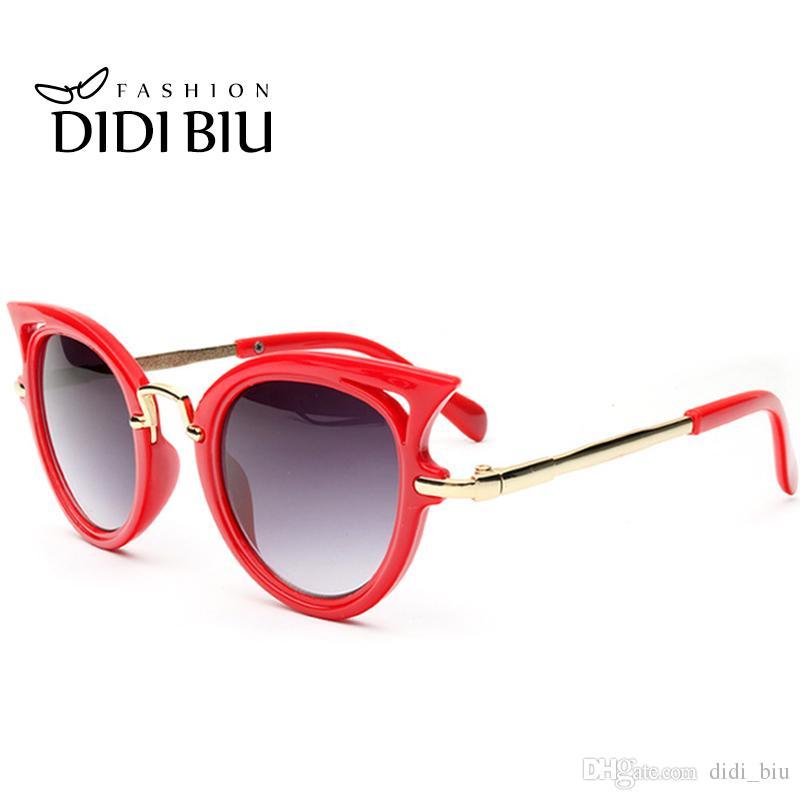 Compre Didi Crianças Cat Eye Red Óculos De Sol Crianças Leopard Impressão  Gradiente Lente Óculos De Sol Do Bebê Meninas De Luxo Marca Óculos Do Punk  Party ... f99f55c9e6