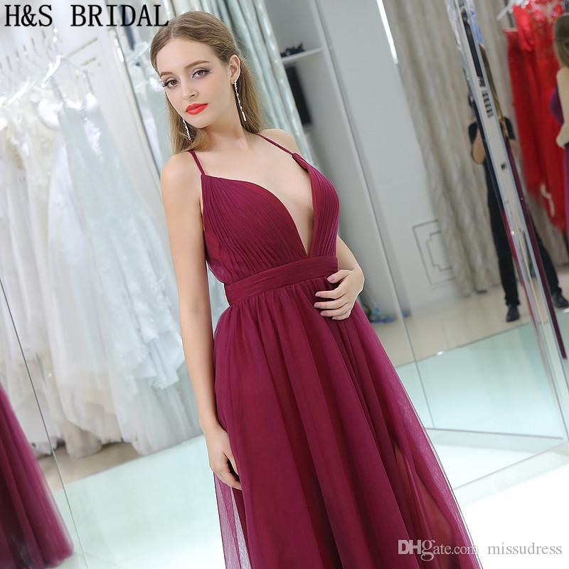 Dark Red Tulle Cheap Evening Dresses V Neck Thin Straps Sexy Burgundy Prom Party Gowns B015