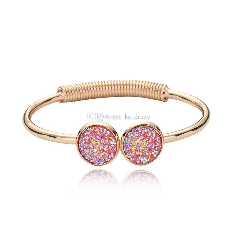 Fashion Druzy Drusy Bracelet Cuff Silver Gold Plated Resin Geometry Gemstone Lava Stone Bracelet Bangle For Women Lady Jewelry