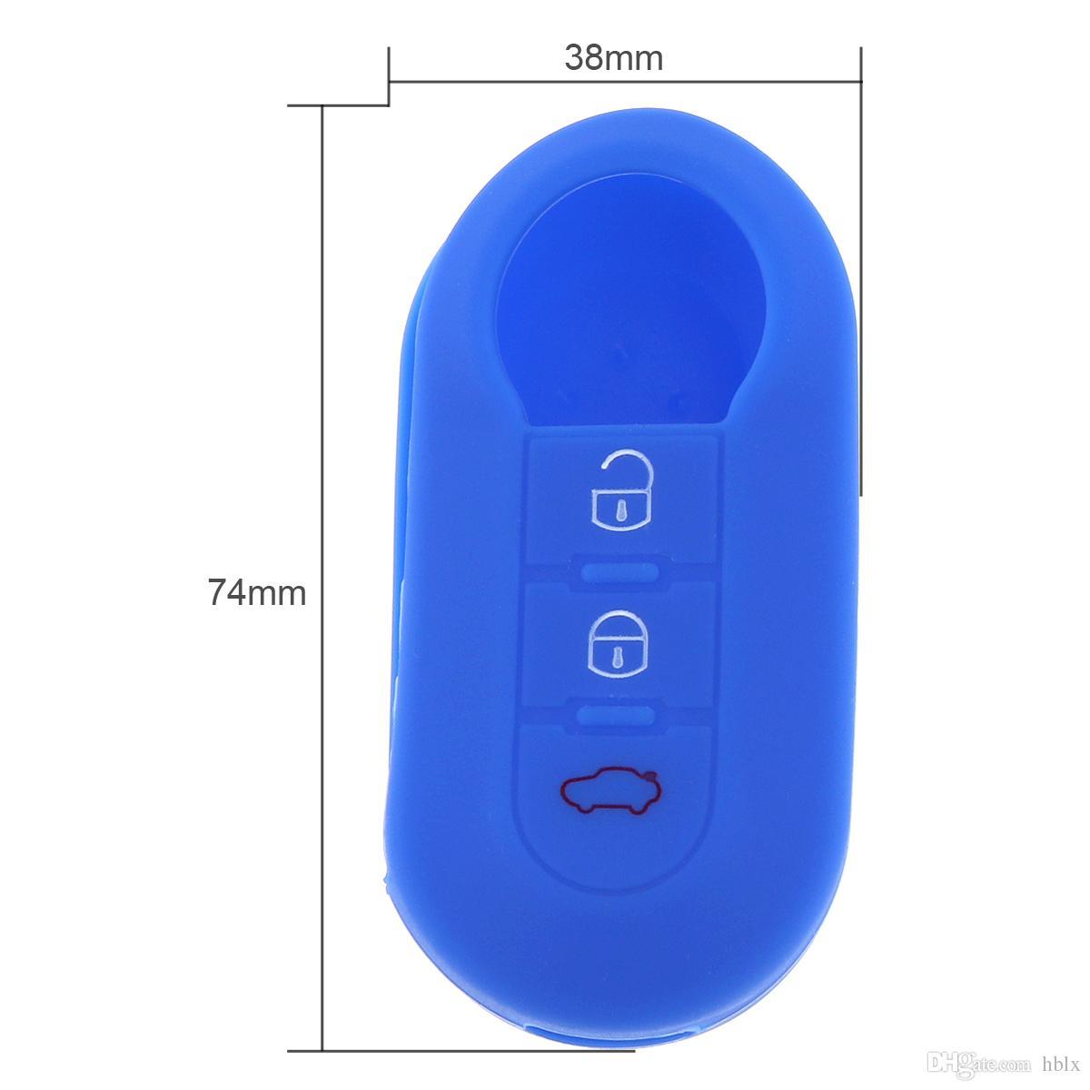 es 3 Botones de Silicona Flip Funda Plegable para Fiat 500 CIA_40C