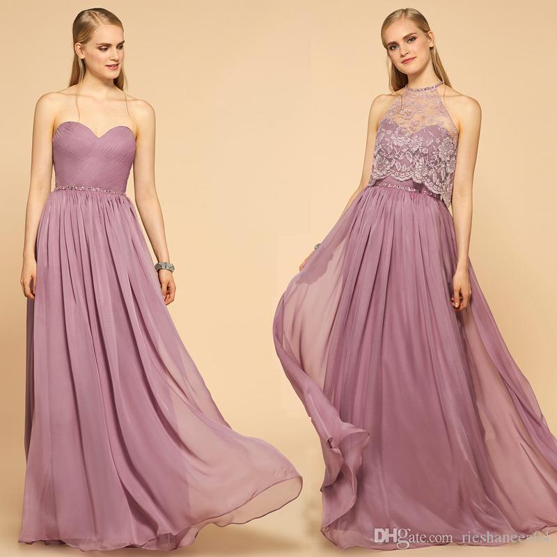 Compre 2017 De Dos Piezas Vestidos De Dama De Honor Cariño Sin ...