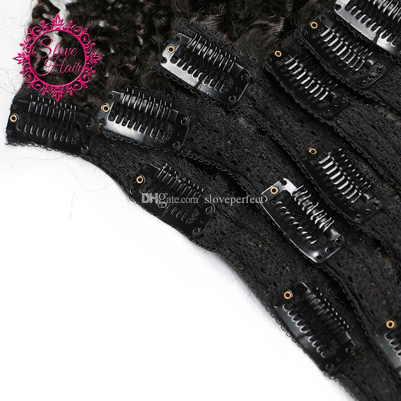 Mongolian Virgin Hair African American afro kinky curly hair clip in human hair extensions natural black clips ins