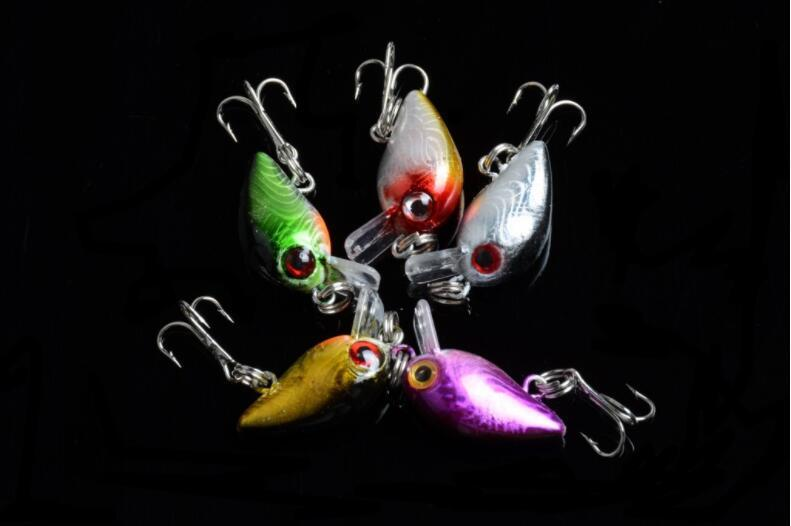 Wholesale 1.5g 3cm Simulated Fishing Lure Artificial Crankbaits with 10# Hook or Plastic Hard Baits for 2m Swimming Depth