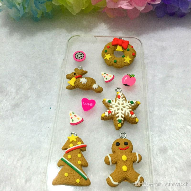 Cartoon Animal Snowflake Biscuits Hanging Christmas Tree Ornament Hand Made Polymer Clay Christmas Decoration ZA1542