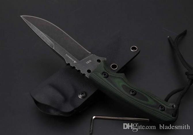 Envío gratis VG10 HOGUE el EX - F01 cuchillo recto, cuchillas de funda Kydex de alta dureza, lavado con piedra cuchillos pequeños