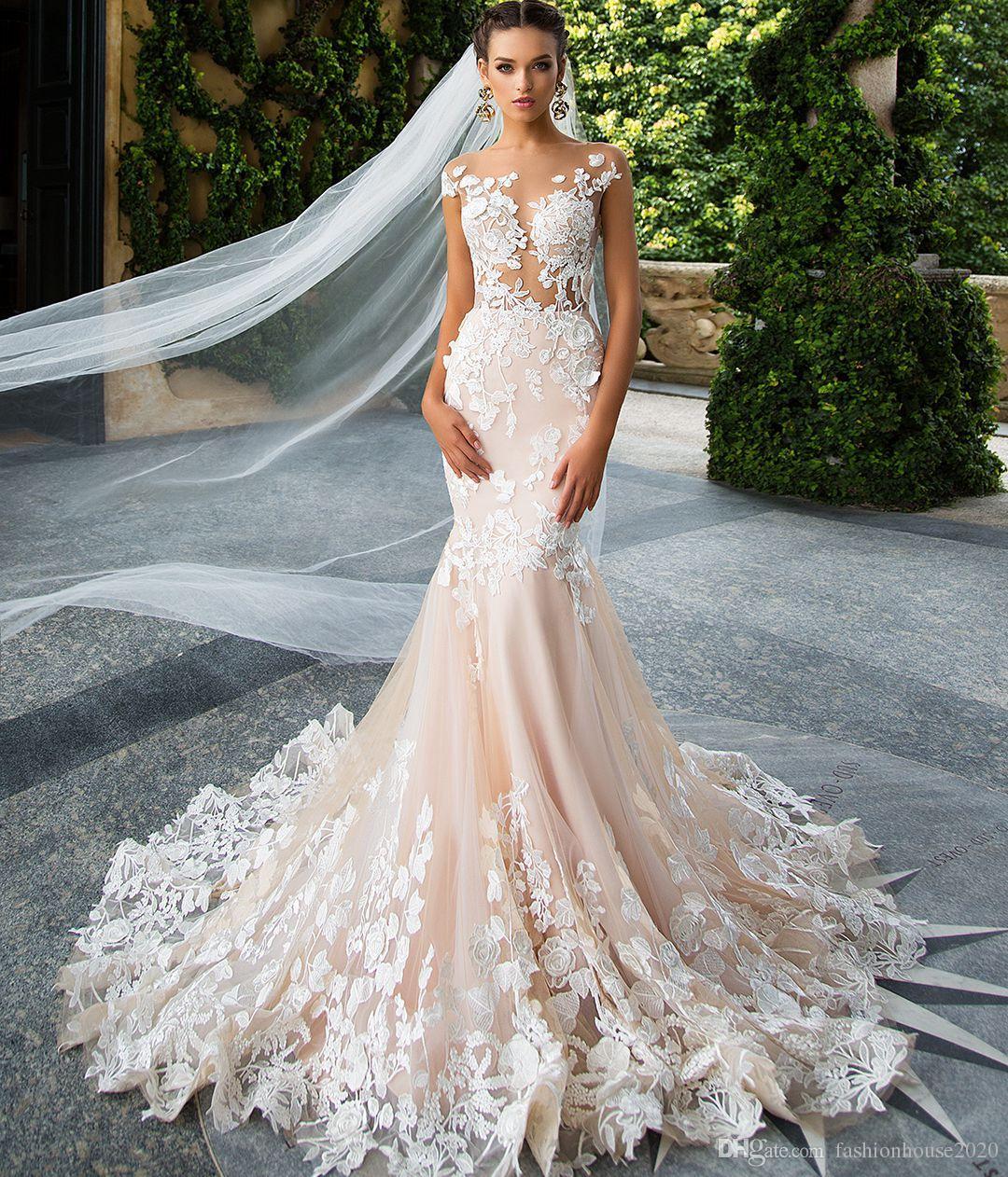 61e49d502a Champagne Lace sirena vestidos de novia más el tamaño 3D-Floral Appliques  Sexy Sheer Backless vestido de novia Beach Vestidos de novia diseño  personalizado