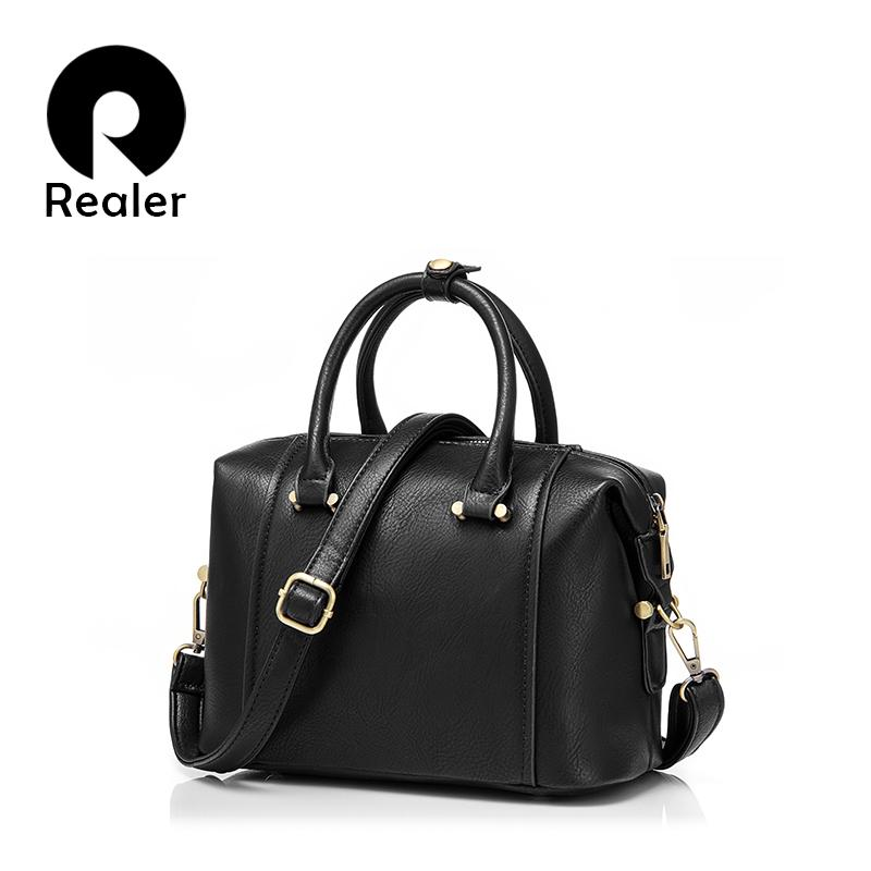 Wholesale Realer Brand Spring New Women Handbag Small Shoulder Messenger Bags  Simple Fashion Ladies PU Leather Bags Boston Bag Mens Leather Bags Italian  ... b63c955c904cf