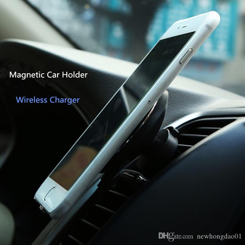 360 Rotating Magnetic Car Stand charger Holder Qi Wireless Charger for Galaxy S8 plus S6,G9200/S6 Edge/NOTE5/S7/S7 EDGE