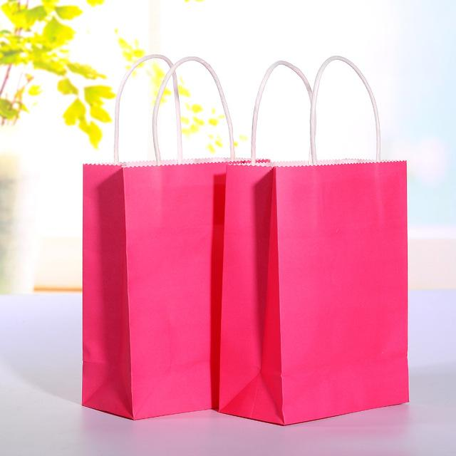 Wholesale Hot Pink Kraft Paper Bag With Handle Wedding Party Favor Gift Bags 21158cm Big Rolls Of Christmas Wrapping Birthday Wrap From