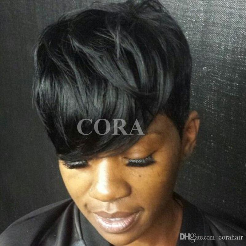 Perucas Femininas Sleek Afro Boy Cut Short Pixie Wigs For Black Women  Brazilian Virgin Hair American Wig With Bangs Rachel Welch Wigs Glueless  Lace Wig From ... c737cbb0e1