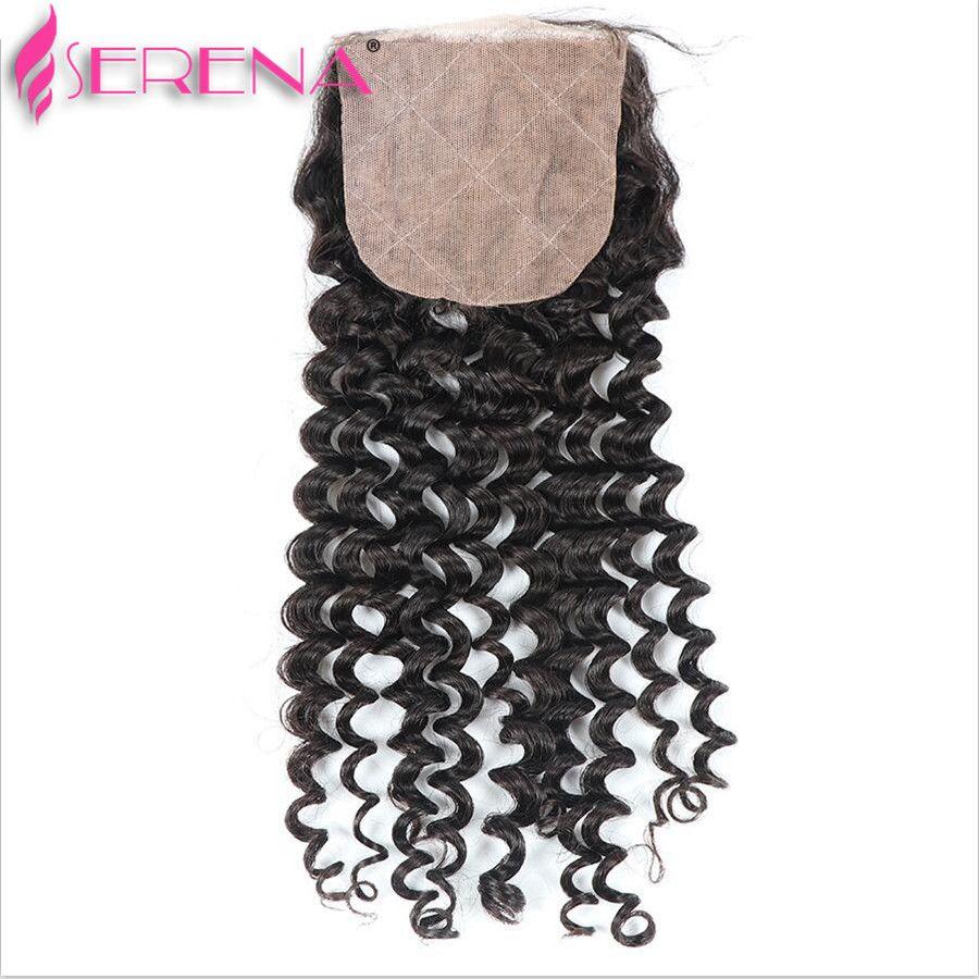 Malaysian Curly Hair Silk Base Closure Deep Wave Human Hair Silk Top Closure Bleached Knots 100% Virgin Hair Lace Closure 4x4