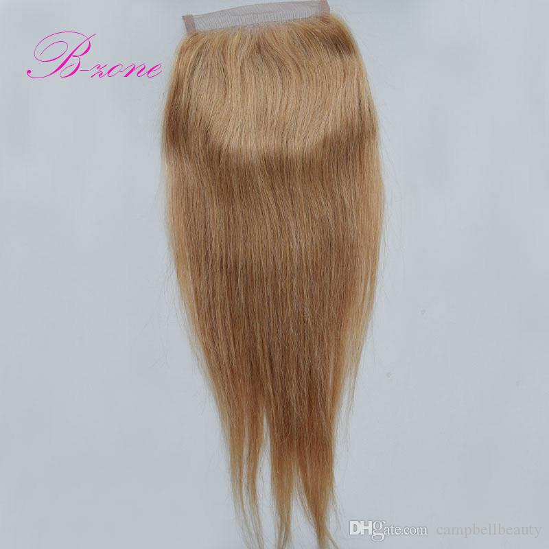 Peruvian 4x4 Straight Remy Hair Honey Blonde Swiss Lace Closure free mid 3 Part Bleached Knots closure babyhair