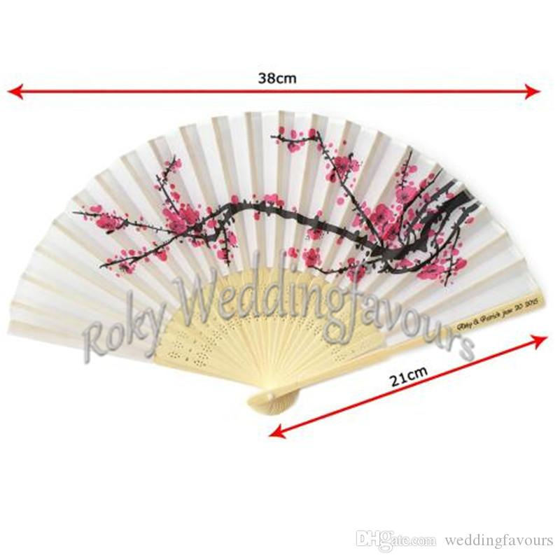 Free Shipping 100pcs Personalized Chinese Silk Bamboo Hand Fans Cherry Blossom Fan Wedding Party Favors Bridal Shower Gifts Event Souvenirs