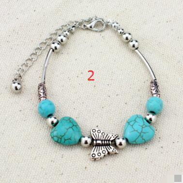 Mode-Charms einstellbar Tibetan Silber Türkis Perlen Armband Armband Frauen Armreif Schmuck Freies Verschiffen