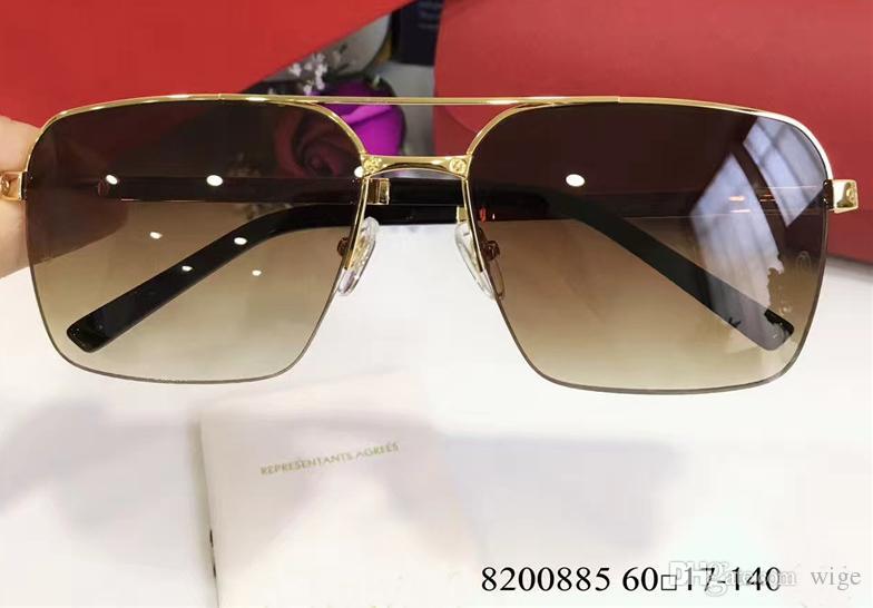 Men Vintage Sunglasses Venice Rimless Platine gold brown sunglass Design Sunglasses Latest New with Box