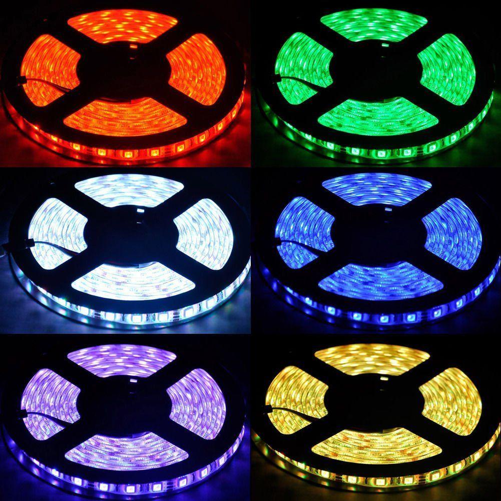 RGB CONDUZIU a Luz de Tira 16.4ft 5M 300 LED Corda À Prova D Água Luz Flexível RGB SMD5050 CONDUZIU o Jogo de Tira Leve + 44 Controle Remoto Chave + 12V 5A Abastecimento de Energia