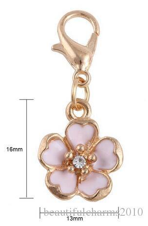 / 16x13mm Plaqué Or Fleur Flottant Pendentif Charmes Fit Pour Mémoire Magnétique Collier Fabrication de Bijoux