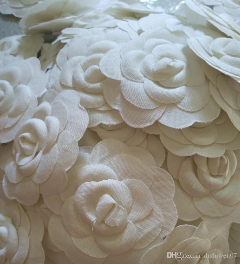 6 adet / grup Beyaz renk kamelya DIY Bölüm 8X8 CM kendinden yapışma kamelya çiçek C VIP için çanta veya kart üzerinde sopa