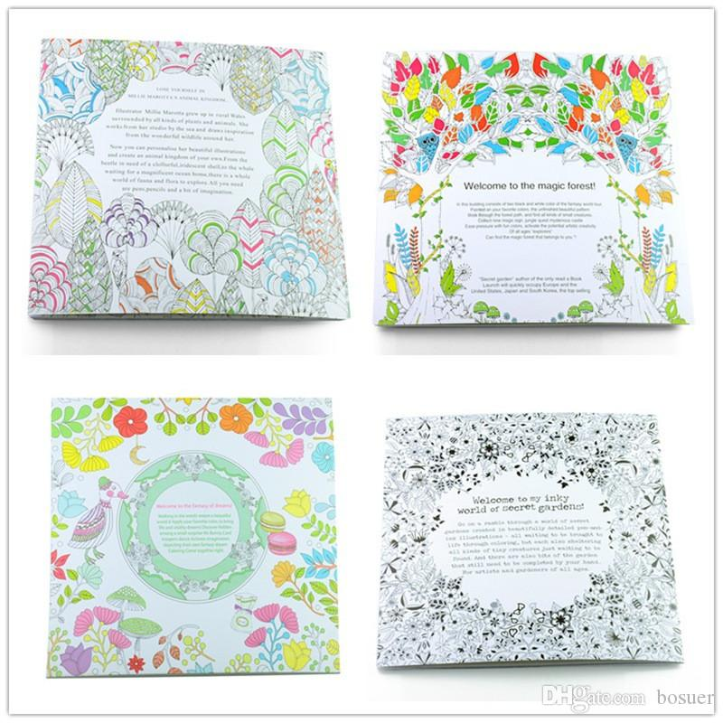 4 Design 24 Pages Inky Coloring Drawing Books Secret Garden Enchanted Forest Fantasy Dream Children Adult Graffiti Painting Book Buy