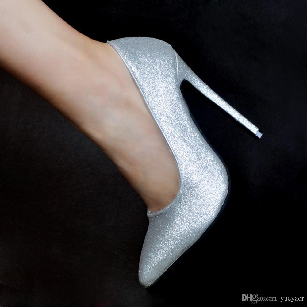 Zandina Womens Whole Sale Fashion Handmade 10cm High Heel Glitter Party Office Pumps Shoes Silver XD031