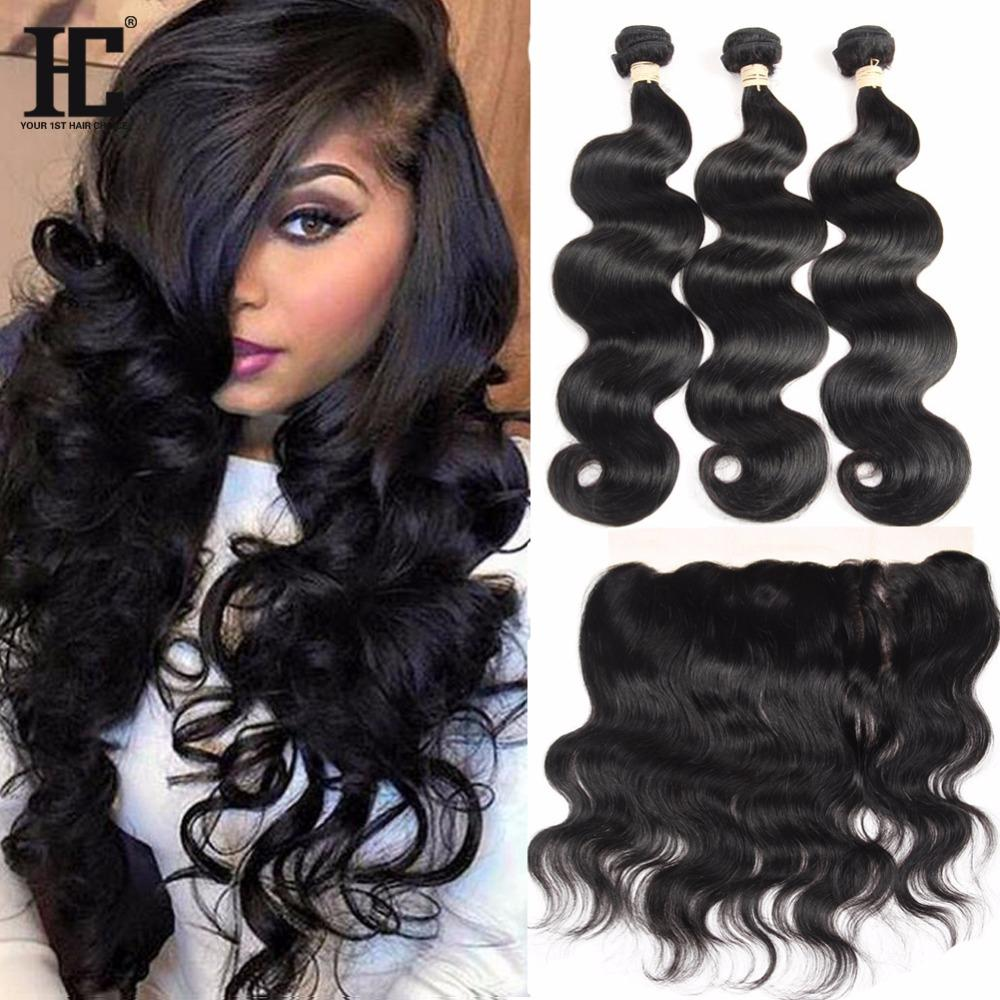 Brazilian Virgin Human Hair Body Wave With Lace Frontal Closure 3 Bundles With 13x4 Ear to Ear Lace Frontal Closure HC Weaves Closure