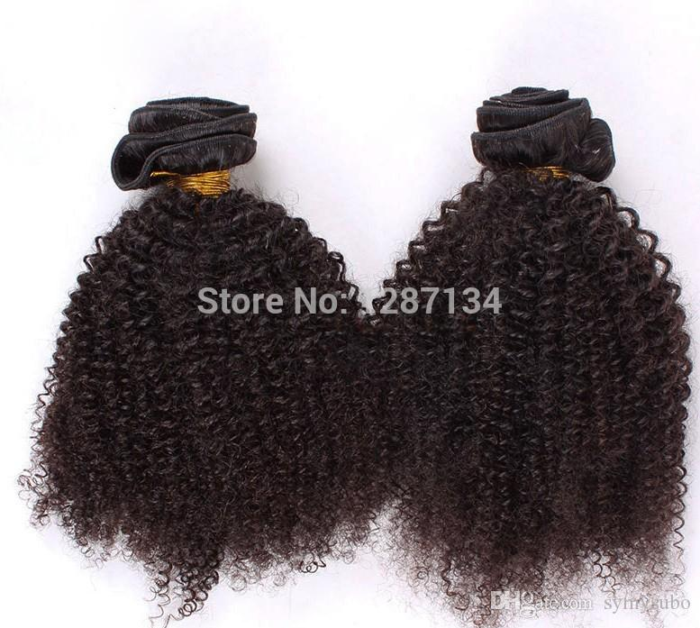 couleur naturelle cheveux tisse grade 5a + non transformés vierge brésilienne afro crépus bouclés cheveux / 100% humains remy brésiliens cheveux