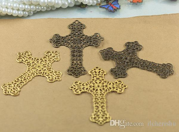 07588 37*52mm antique bronze/silver/rose gold/gun black filigree crucifix charms for jewelry making, religious item necklace cross pendants