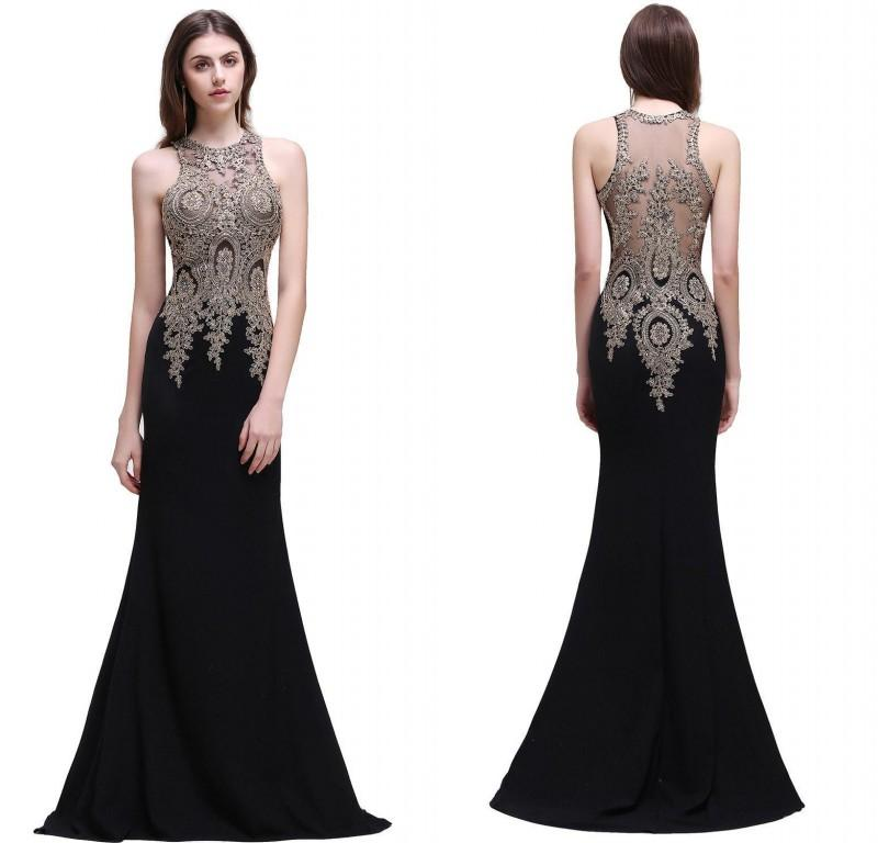 2018 Designer Occasion Dresses Mermaid Beaded Embroidery Long Evening Gowns Sheer Back Formal Prom Dress CPS525