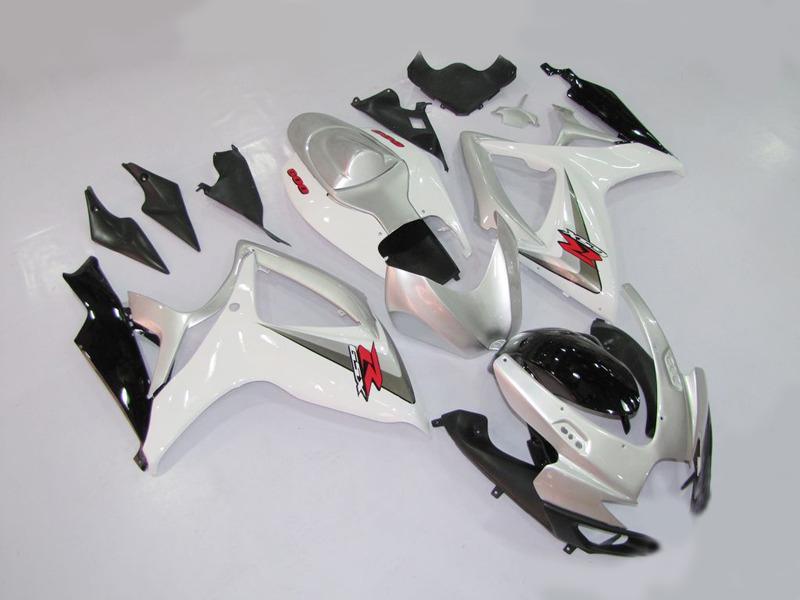 Kit carénage moto pour 2006 2007 SUZUKI GSXR600 750 GSXR 600 GSXR 750 K6 06 07 ABS Carrosserie carénage blanc argent + cadeaux MN18