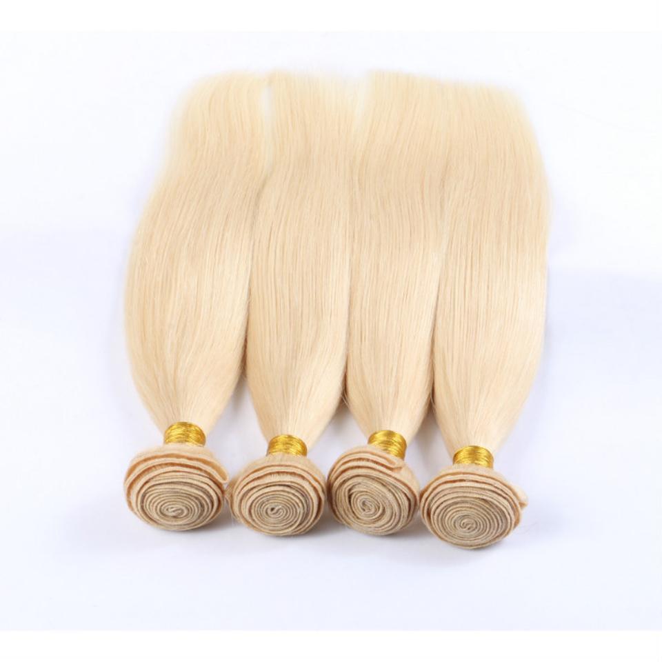 البرازيلي مستقيم الشعر الحياكة مزدوجة لحمة 100G PC / 613 الروسية شقراء اللون 100٪ الإنسان ريمي الشعر