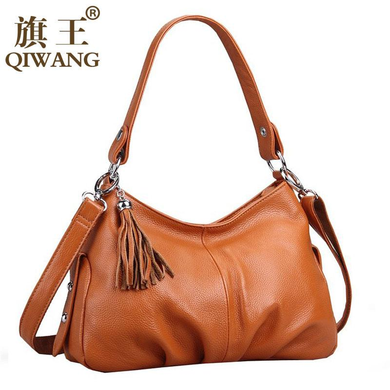 3baa2870960c Wholesale QIWANG Brand Fashion Woman Bag Small Ruched Shoulder Bag Luxury Leather  Hobo Small Handbag Long Lock Strap Crossbody Tassel Bag Cheap Designer ...