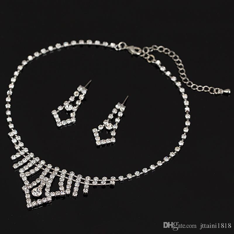 Le donne di modo 2016 l'edizione del han di nozze di cristallo degli orecchini della collana del rhinestone di cristallo di alta qualità di disegno regali
