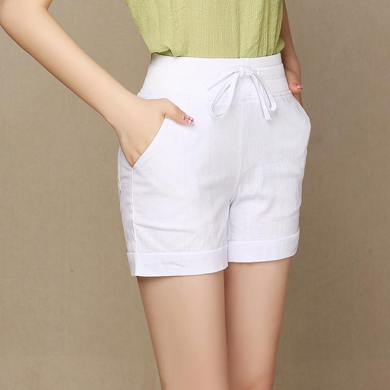 73038bd2ac2 2019 Big Size Summer Women Casual Loose Short Femme Cotton Linen  Comfortable Shorts Elastic Waist Shorts Plus Size S 5XL From Tanzhilian1