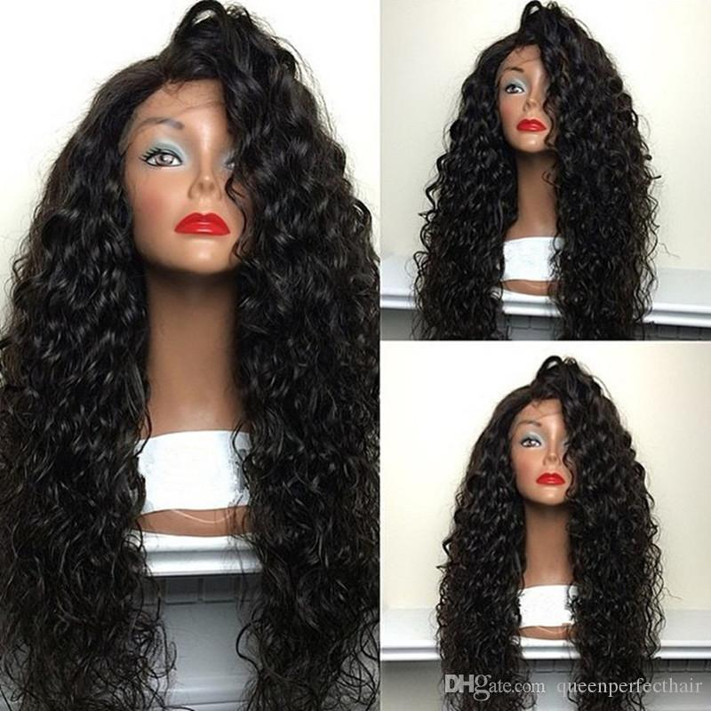 Cheap High Quality Heat Resistant Japan Fiber Long Black Water Wave Synthetic Lace Front Wigs With Baby Hair for Black Women