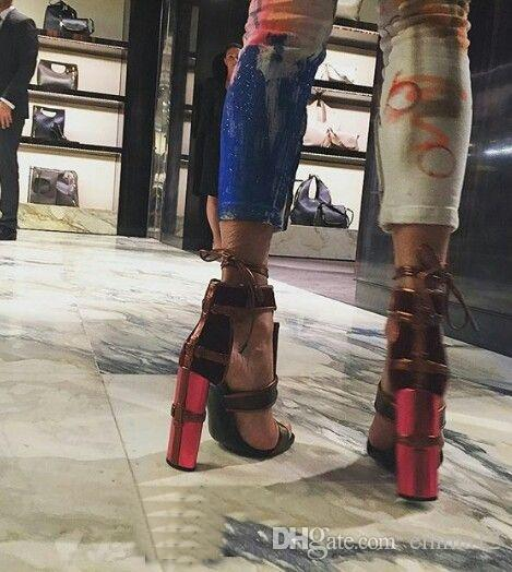 2017 sandali nero bianco denim viola arancio patchwork sandali gladiatore donne tacchi alti scarpe stringate di alta qualità