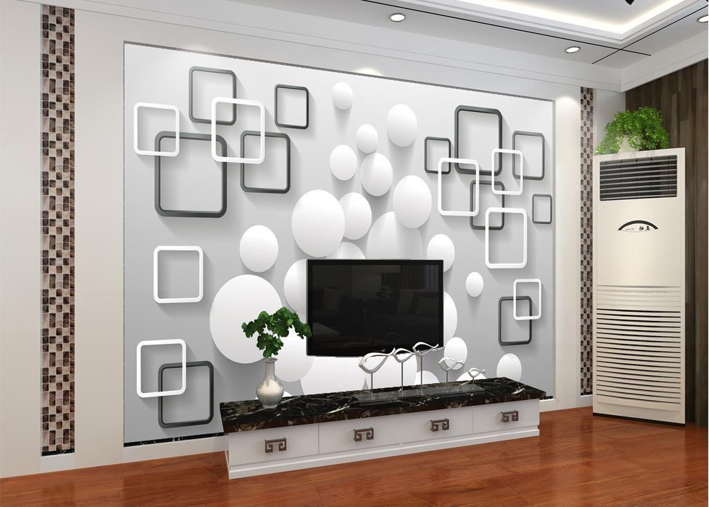 사용자 정의 크기 현대 미니멀 볼 상자 배경 벽 벽화 3D 벽지 텔레비젼 배경에 대 한 3d 벽 종이
