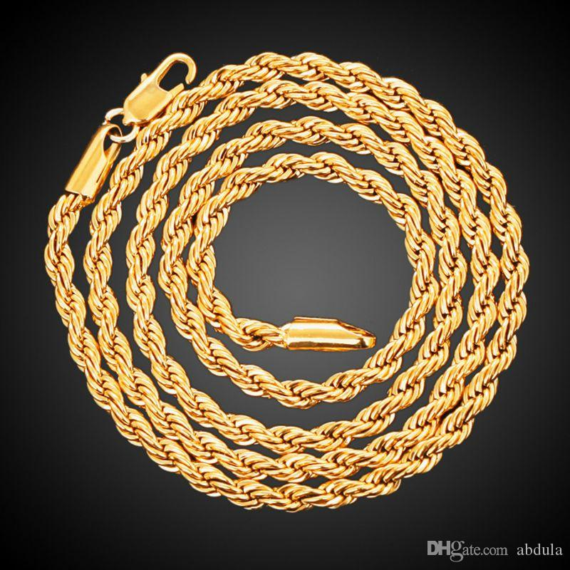 2018 Men And Women 18K Yellow Gold Plated French Rope Chain Necklace