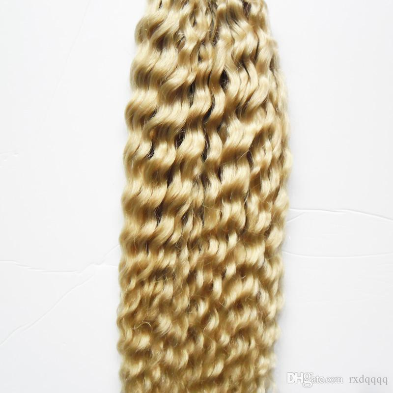 Malezya Kinky Kıvırcık Sarışın Keratin Saç Uzatma Ben İpucu 100g 1g / strand Ön Gümrük Saç fusion kapsülleri keratin sopa İpucu saç uzantıları