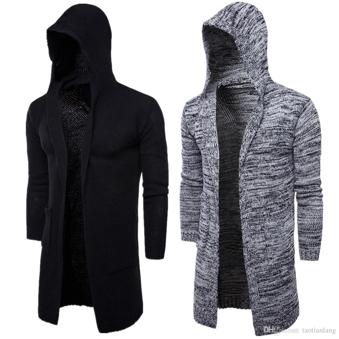 Autumn Winter Loose Long Mens Cardigans Sweaters New Fashion Thick plus Size Jumpers Mens Hooded Sueter Knit Sweater Sudaderas T170758
