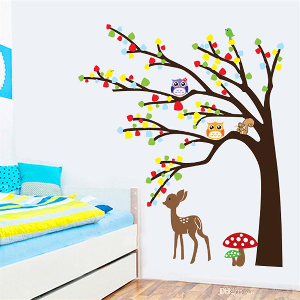 cartoon cute animal deer owl tree mushroom diy wall wallpaper cartoon cute animal deer owl tree mushroom diy wall wallpaper stickers art decor mural kid s child room decal home sticker home wall art stickers from