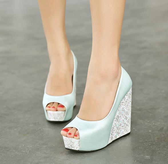 New White Wedge Heel Bride Wedding Shoes Blue Peep Toe