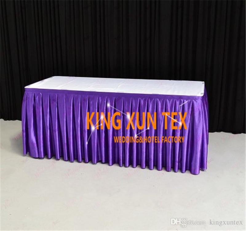 Hot Sale Satin Table Skirt \ Table Cloth Skirting For Wedding And Event Decoration Free To Door Shipping
