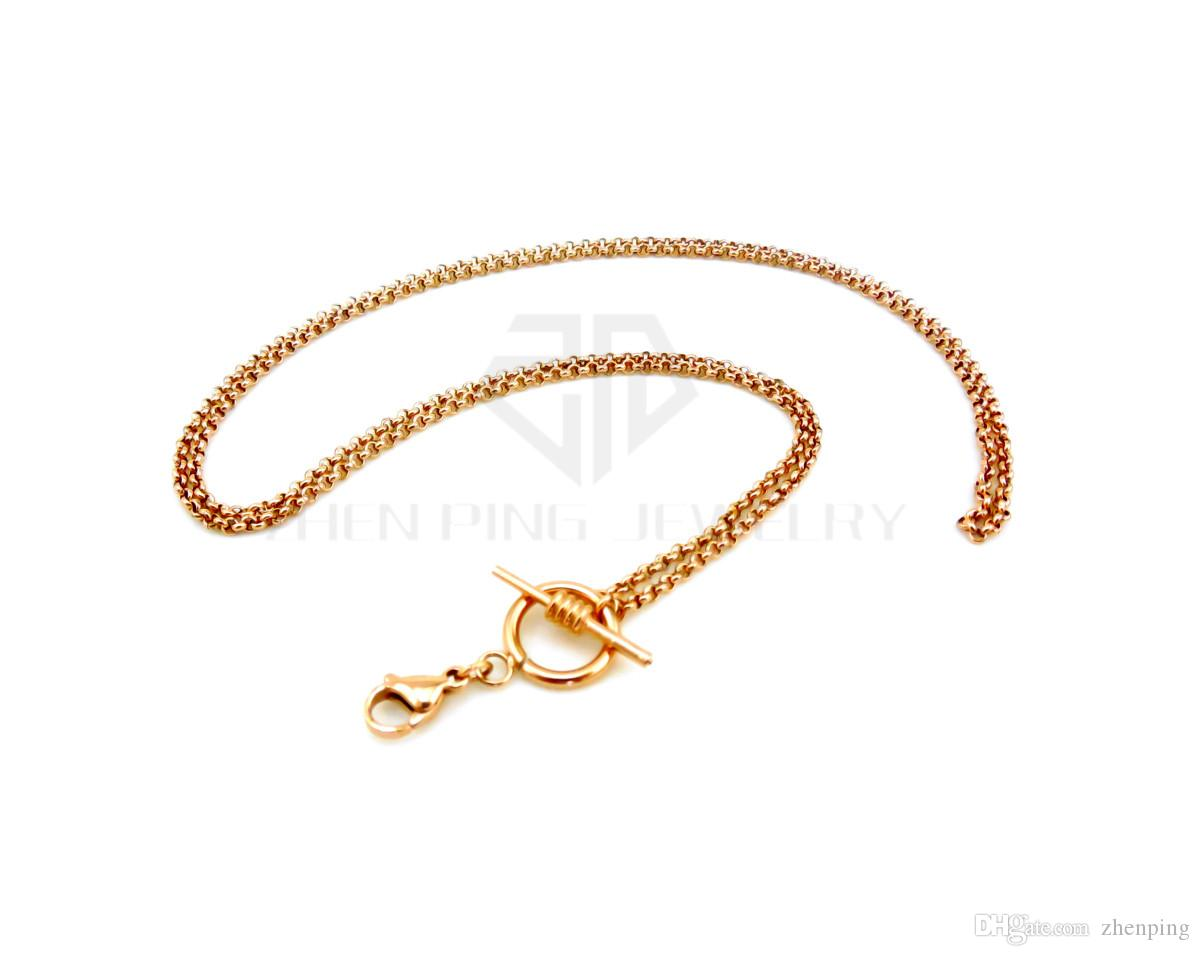 silver new design rolo chain with toggle and lobster clasp 14-24 inch can be choose stainless steel rolo chain