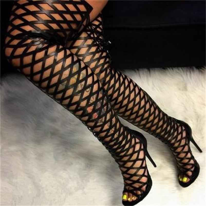 Chic Black Gladiator Sandals Womens Over Knee Cut-outs 11cm High Heel Thigh Long Boots Evening Party Size 35 to 40